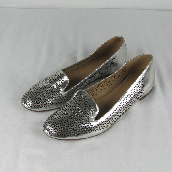 3e6aa14d94a J. Crew Shoes - J CREW Womens Silver Leather Perforated Flats 11